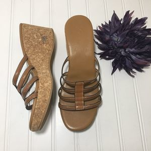 J. Crew Strappy Tan Leather and Cork Wedges, 8